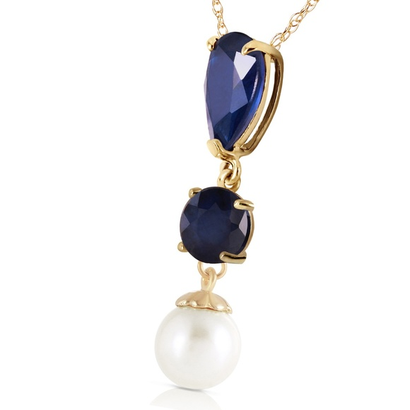 Galaxy Gold Products Jewelry - 14K. SOLID GOLD NECKLACE WITH SAPPHIRES & PEARL